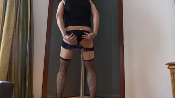 corset crossdressed bondage7 Blue hair public disgrace