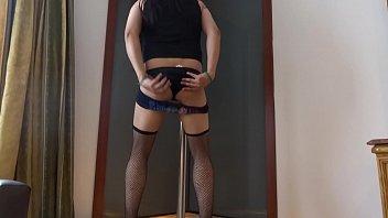 corset crossdressed bondage7 Blue hair public disgrace