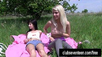 do plump lesbians it outdoors Big tit sis